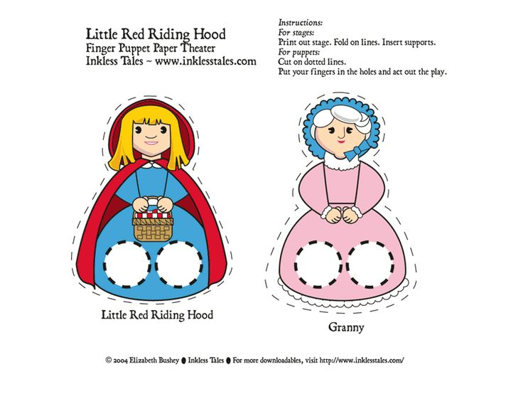 """Very nice set of printable finger puppets kids can cut out for the story """"Red Riding Hood."""""""