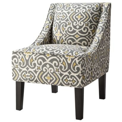 I think it's time to replace the faux leather chair.  This would be perfect in my gray and yellow living room.   Target Hudson Upholstered Accent Chair - GrayCitron