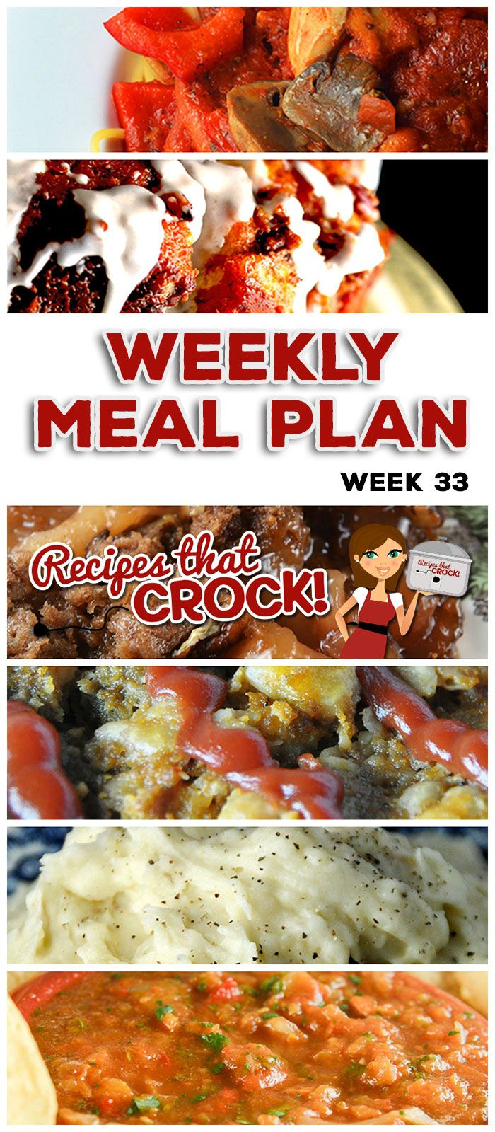 This week's weekly menu features Crock Pot Chicken Alfredo, Crock Pot Old Fashioned Meatloaf, Crock Pot No-Boil Mashed Potatoes, Crock Pot Sausage Corn Potato Chowder, Crock Pot Rustic Italian Chicken, Crock Pot Pork Carnitas, Crock Pot Homemade Salsa, Crock Pot Cream Cheese Garlic Fondue, Cinnamon Roll Monkey Bread and Crock Pot Apple Spice Dump Cake.