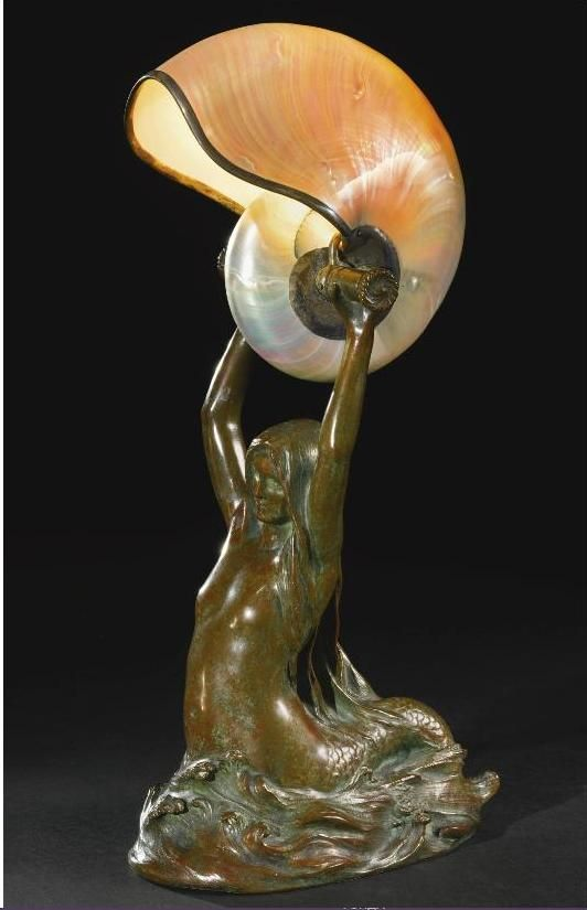 Tiffany Studios Art Nouveau Bronze Lamp Mermaid Holding A