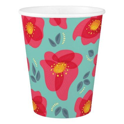 Spring Flowers Pattern With Bright Pink Petals Paper Cup - floral style flower flowers stylish diy personalize