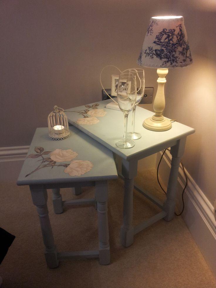 Shabby chic decoupaged nest of tables in Laura Ashley's duck egg blue.