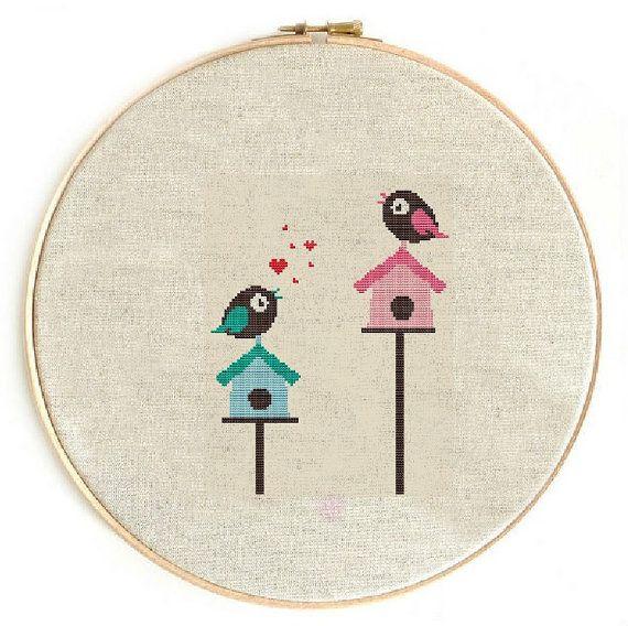 Counted cross stitch pattern, cross stitch, Instant Download, Free shipping, Cross-Stitch PDF, BirdHouse, Love bird