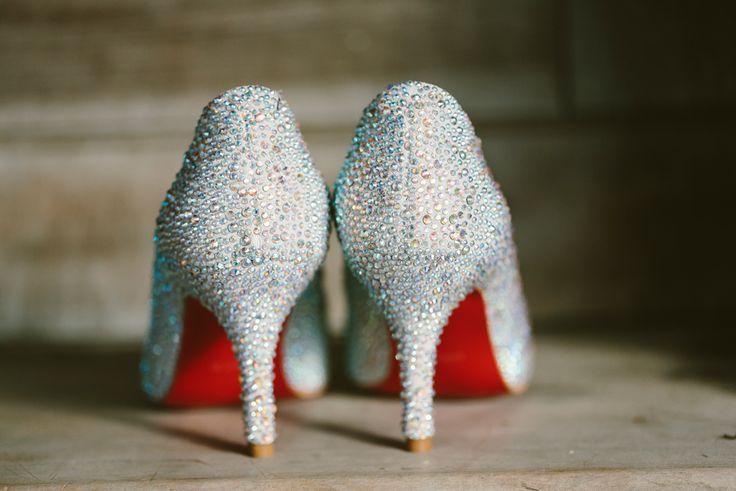 Sparkling Christian Louboutin wedding shoes. Image: Cavanagh Photography http://cavanaghphotography.com.au