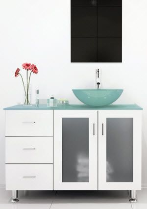 Pic On  Lune Single Glass Vessel Vanity White Glass Top