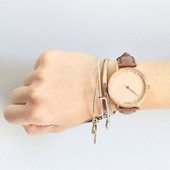Womans bois montre, montre en or Rose bois cerise, brun bracelet en cuir…