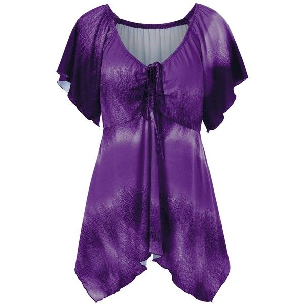 Plus Size Empire Waist Butterfly Sleeve Blouse ($14) ❤ liked on Polyvore featuring tops, blouses, purple blouse, empire waist top, butterfly sleeve blouse, women's plus size blouses and empire line tops