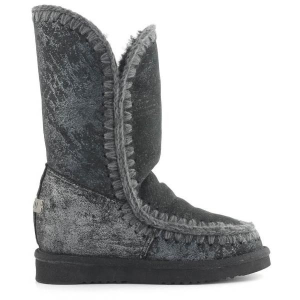 MOU Eskimo Wedge Tall Boots Women Microglitter Black - MOU (349€→260€) #CyberMondayDeals #Cyber Monday #Christmas