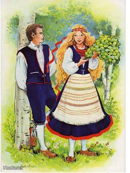 Johanneksen kansallispuku. Johannes folk costume. Karelian. Card by Salli Parikka.