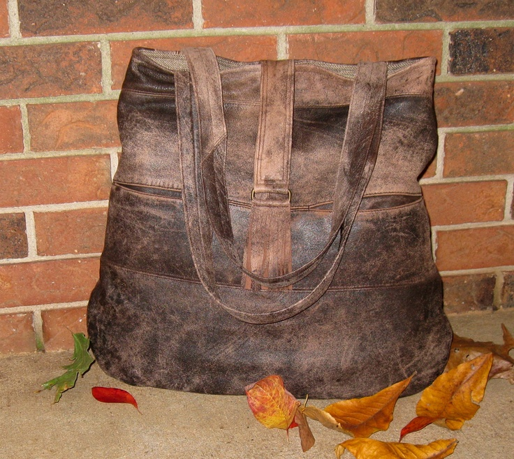 Recycled Leather Boho Hobo Handbag Large Lightweight