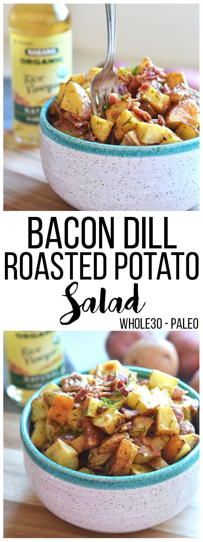 This Bacon Dill Roasted Potato Salad is the perfect paleo and Whole30 side dish for a summer party!