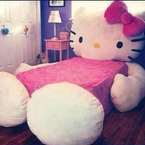 OMG. hello kitty bed.......... ok dont judge me it is a little creepy but its still cute........... rememmber the or naaaaaaaaaaaaaaaaaaahhhhhhhhhhhh