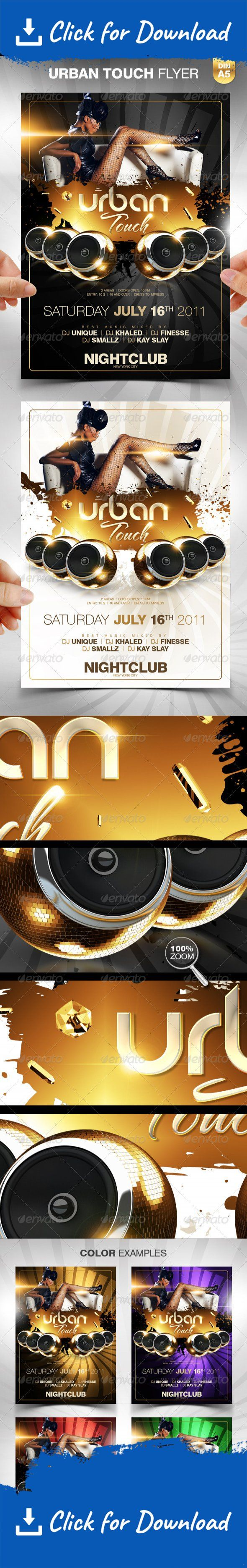 """club, crazy, dirty, disco, dj, event, event poster, frame, glamorous, glitter, glossy, gold, grunge, hip hop, light, music, night, nightclub, party, party flyer, people, rnb, sexy, shiny, speaker, stylish, urban, woman """"Urban Touch"""" party flyer template for a urban mainstream music event or any other nightclub event. The design has a nice mix of urban and glamour style. Hope you like it.   You get 2 x DIN A5 Flyer A black version and a white version.   You can modify everything very e..."""