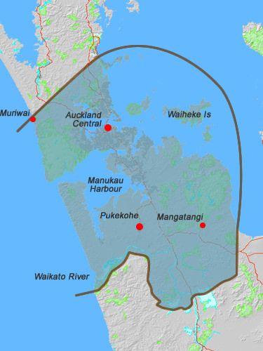 Rohe map for Ngāti Tamaoho.