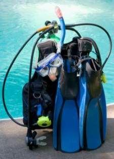 Scuba diving gear at poo