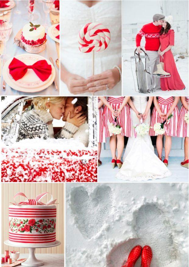 ślub zimą czerwony