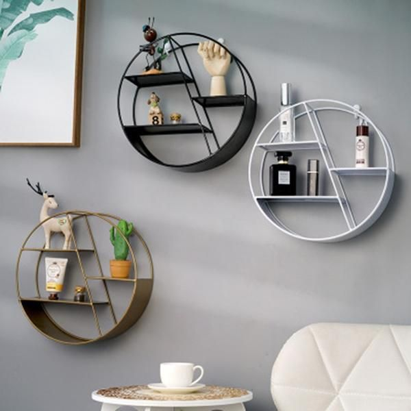 Nordic Ins Metal Decorative Hanging Shelf Round Hexagon Storage Holder Shelves Home Wall Decoration Potted Ornament Stand Rack Decorating Shelves