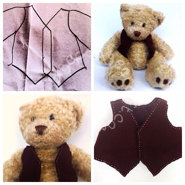 A waistcoat for Nonno bear: a free, simple, Build-a-Bear pattern & sewing tutorial.  (www.hodgepodgecraft.com, teddy, sew, handmade, gift, children, kids, toddler, pre-schooler, boy, girl)