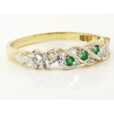 9CT Y/GOLD WITH RHODIUM PLATING, EMERALD AND DIAMOND ETERNITY RING - $585.00