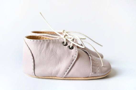 Pink baby shoes Baby girl oxfords Leather baby shoes Soft