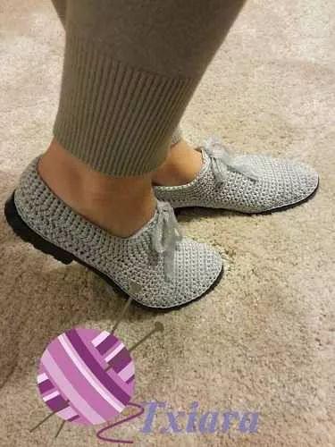 zapatos tejidos a crochet para damas