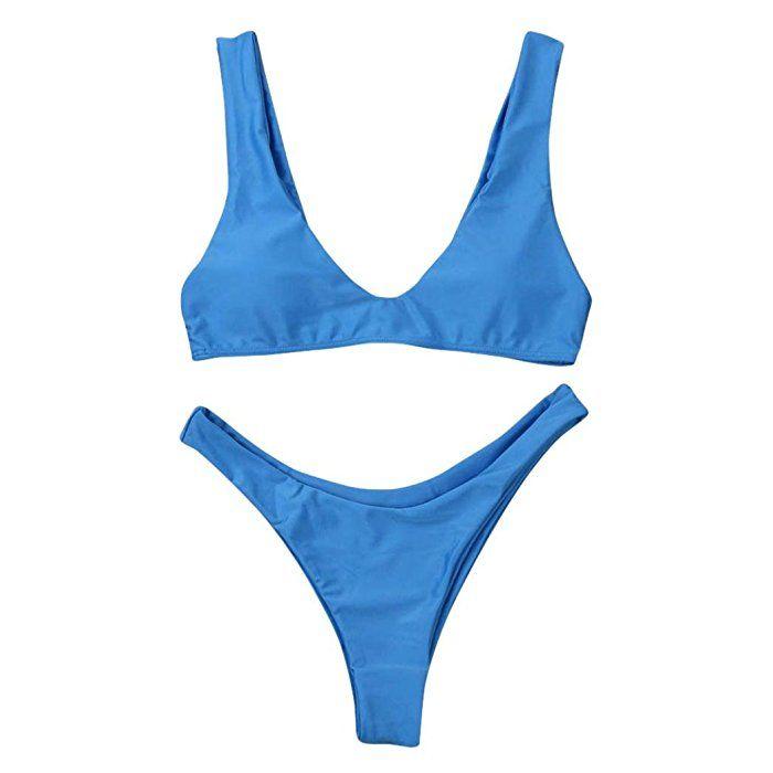 bañadores mujer 2017 Switchali atractivo bikini mujer baratos con Cojín del pecho casual bañadores mujer push up Verano Cintura Alta Traje De Baño Beachwear Bra + tangas mujer (Large, Azul)