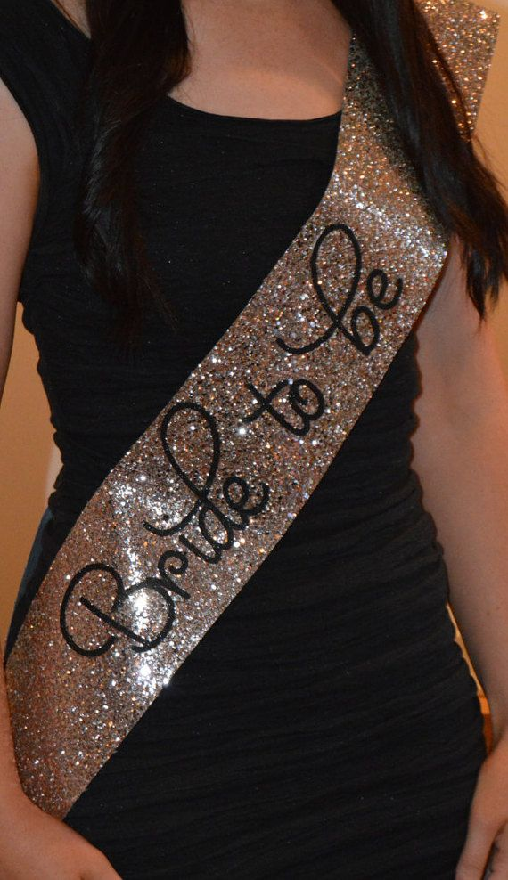 Bachelorette Sash - Hen Party Sash - Bride to be - gold / pink glitter handmade