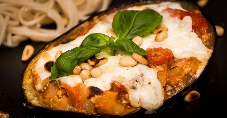 Cuisine-à-Vous: Gevulde aubergines afgewerkt met een smeuïge burrata