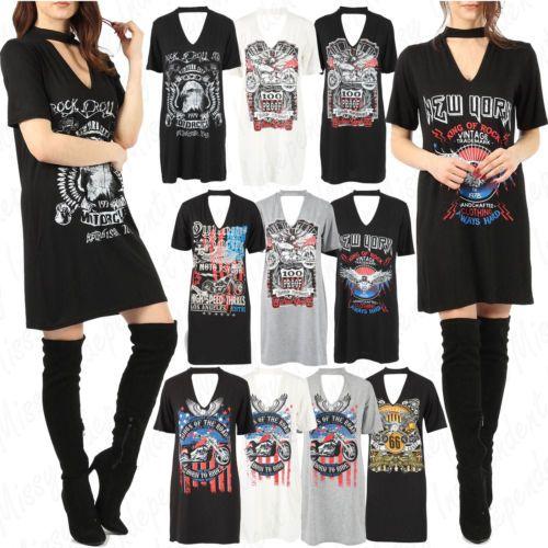 Women's Ladies Choker Neck Short Sleeve Slogan Printed Longline T Shirt Dress
