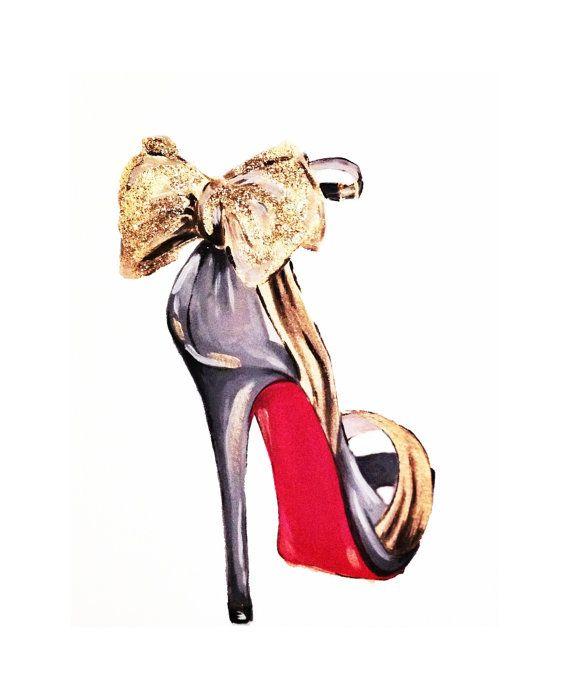 Print of Gold Glitter Bow Louboutin High Heel Fashion Illustration