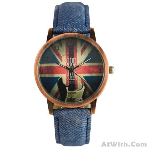 Wow~ Awesome UK Flag Denim Pattern Strap Retro Watch! It only $30.99 at www.AtWish.com! I like it so much<3<3!