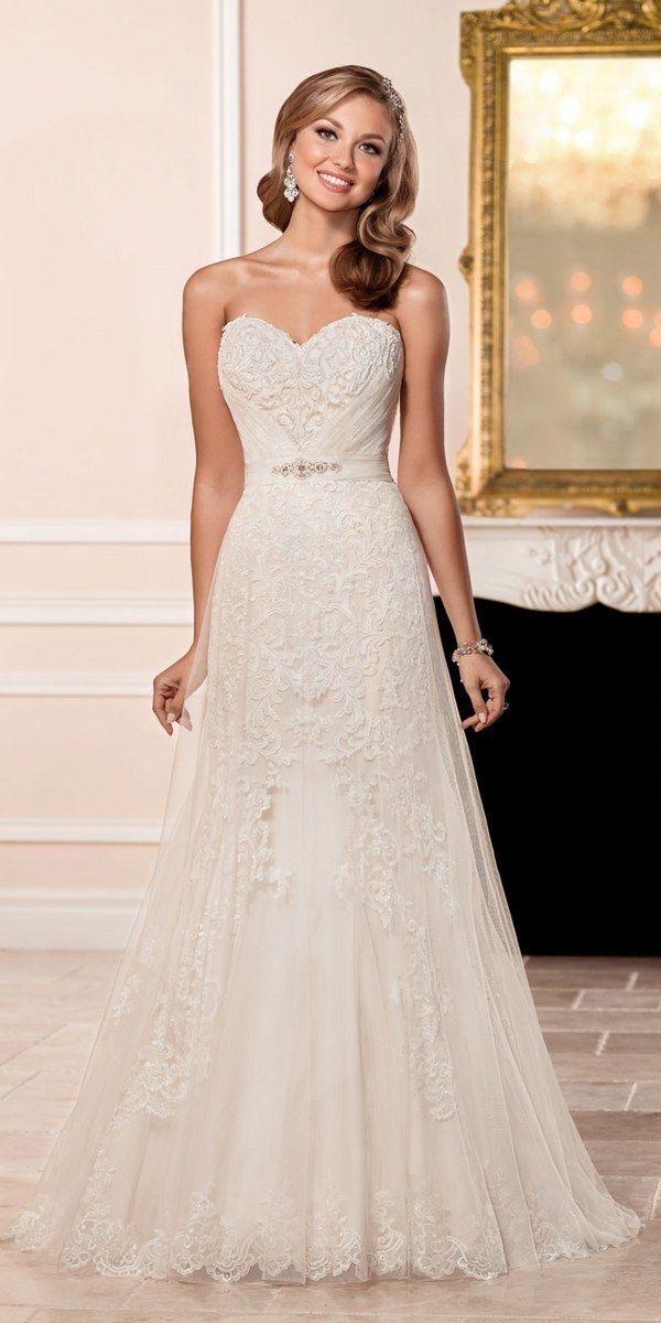 Stella York Strapless Sweetheart Lace Wedding Dress style 6431 b / http://www.deerpearlflowers.com/stella-york-fall-2016-wedding-dresses/3/