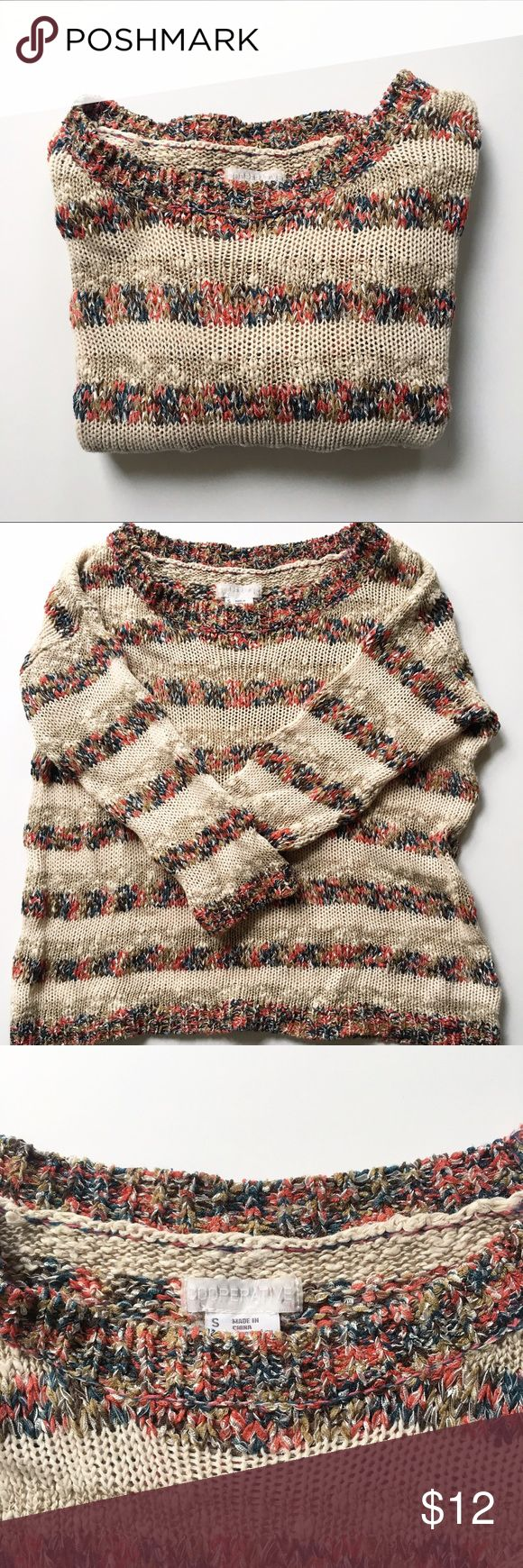 Urban Outfitters Multi Colored Loose Knit Sweater Cute pullover sweater by Cooperative from Urban Outfitters. Loose knit and perfect for spring/chilly summer nights! Cream with multi colored yarn stripes. Urban Outfitters Sweaters Crew & Scoop Necks