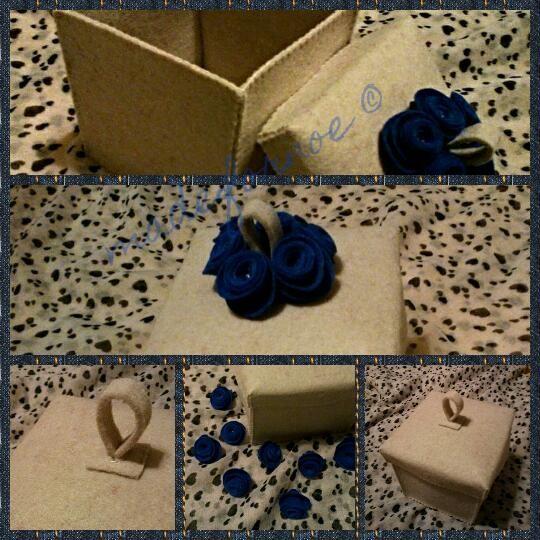 box felt handmade roses pearls blue biege handmade madefornoe