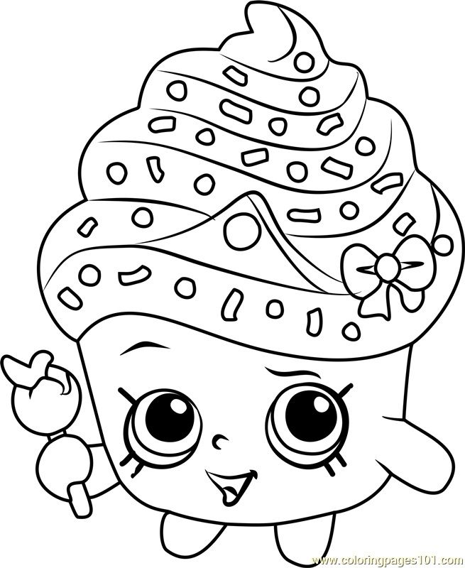 Shopkins Coloring Pages Cupcake Coloringpageschildren