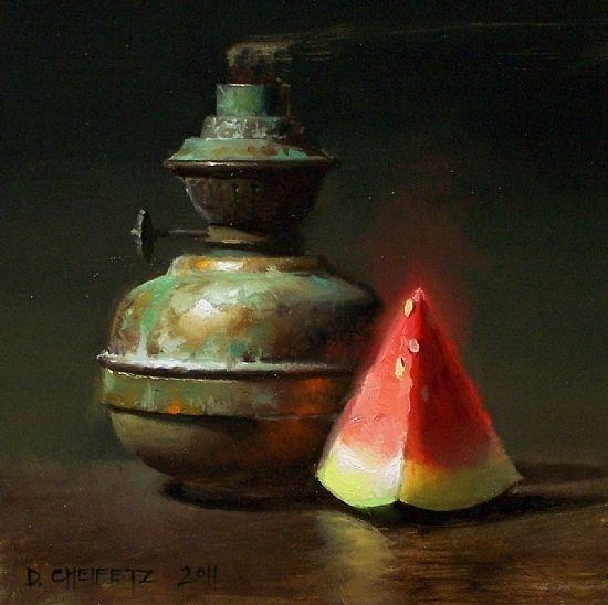 Lamp & Wedge by David Cheifetz Oil ~ 6 x 6