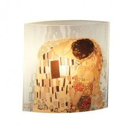 "Goebel - Artis Orbis - Gustav Klimt - The Kiss - Lamp - Glass lamp showing ""The Kiss"" by Gustav Klimt. 1 x E 14, max 40 Watt. VDE- and CE-certified, electric bulb not included. Height: 25 cm. Length: 25 cm. Width: 11.5 cm."
