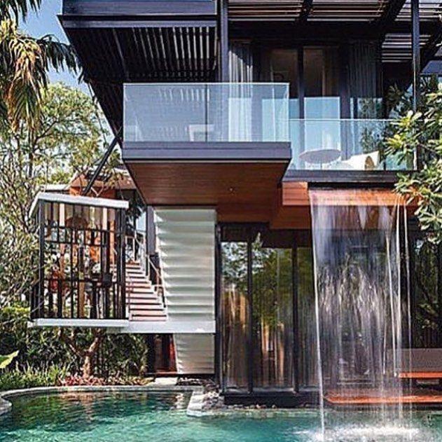 Awesome Beautiful Balcony Waterfall Design Via: @eluxurieshomes   Modern Homes    Pinterest   Waterfall Design, Balconies And Modern