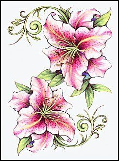 Pink Lilies Temporary Tattoo -- You can find out more details at the link of the image.
