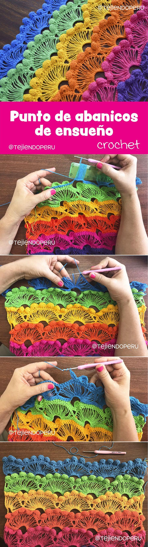 Punto de abanicos de ensueño tejido a crochet paso a paso... ¡fácil de tejer! :) Video tutorial