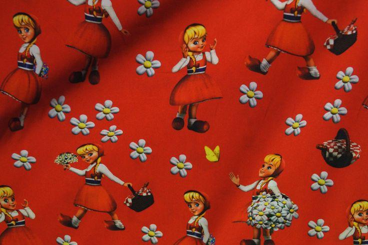 Efteling katoen 7917-015 Roodkapje rood