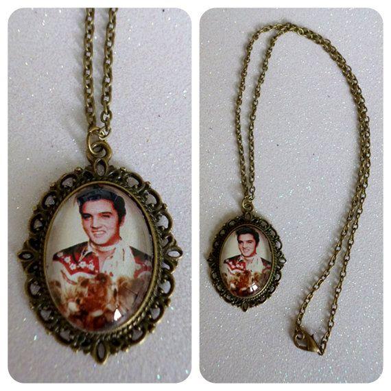 Elvis Presley Teddy Bear Cameo Necklace by CalamityJayneDesigns, £4.99