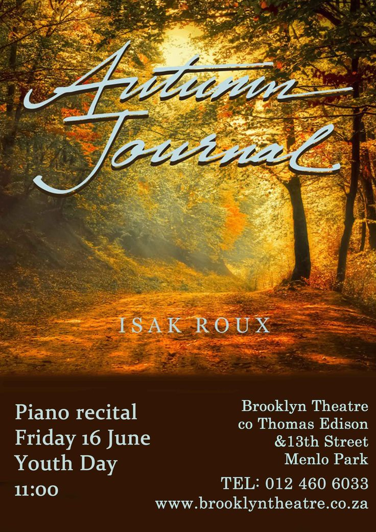 Isak Roux. In Autumn Journal, he draws on a more classical base with tributes to some of the masters of the Romantic Age. An added bonus will be the reading of his multi-lingual texts and poems, written to accompany some of the works to be performed. Some parts of his concerts will be improvised live. This in itself is a rare treat for any audience that is willing to leave the well-trodden path of traditional concert halls.