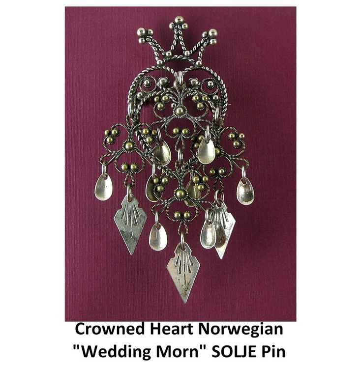 Large Norwegian SILVER Wedding Morning Gift Crowned HEART SOLJE Pin. Click on the image for more information.