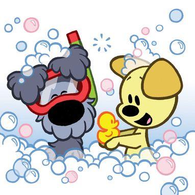 Woezel en Pip zitten in bad met badeend.