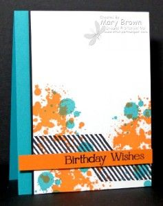 SU! Gorgeous Grunge and Four You (sentiment) stamp sets; colors are Whisper White, Basic Black, Bermuda Bay, and Pumpkin Pie - Mary Brown