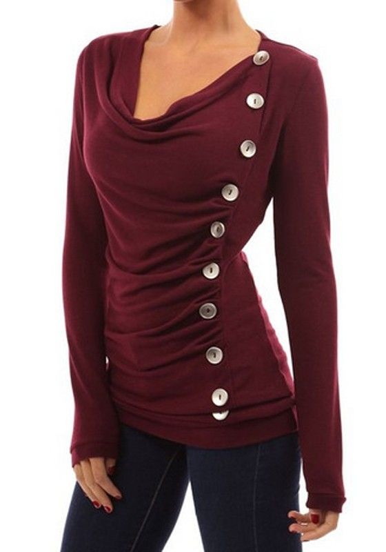 Wine Red Plain Buttons Ruffle Sweet Cotton T-Shirt - T-Shirts - Tops