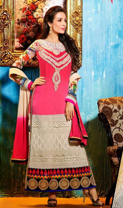 Bollywood Star Malaika Arora Embroidered Long Churidar Suit Price: Usa Dollar $121, British UK Pound £71, Euro89, Canada CA$131 , Indian Rs6534.