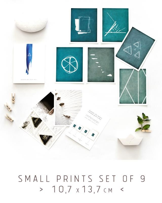 Set of 6 small prints in blue color hues, inspired by the Aegean Greek islands. A souvenir set of elegant small minimalist art prints by the Round Button - Greece.
