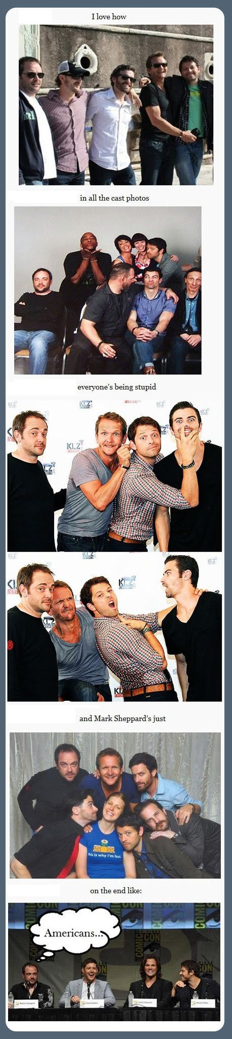 I love Mark Sheppard. On the scale of Mark Sheppard to Misha Collins how weird are you in photos?